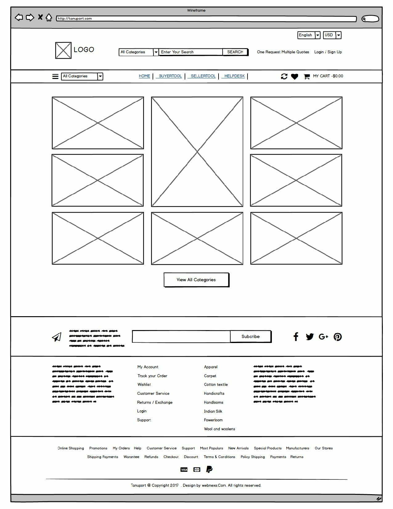 Tanuport Wireframe by Webnexs